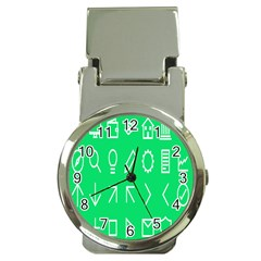 Icon Sign Green White Money Clip Watches