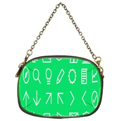 Icon Sign Green White Chain Purses (One Side)