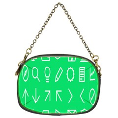 Icon Sign Green White Chain Purses (Two Sides)