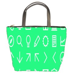 Icon Sign Green White Bucket Bags