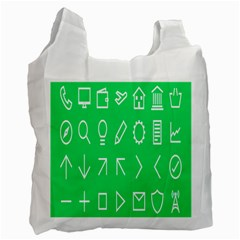 Icon Sign Green White Recycle Bag (Two Side)