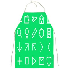 Icon Sign Green White Full Print Aprons