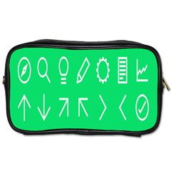 Icon Sign Green White Toiletries Bags 2-Side