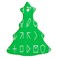 Icon Sign Green White Ornament (Christmas Tree)