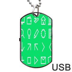 Icon Sign Green White Dog Tag USB Flash (One Side)