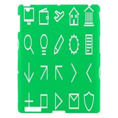 Icon Sign Green White Apple iPad 3/4 Hardshell Case