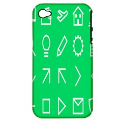 Icon Sign Green White Apple iPhone 4/4S Hardshell Case (PC+Silicone)