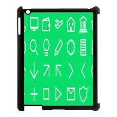 Icon Sign Green White Apple iPad 3/4 Case (Black)
