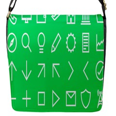 Icon Sign Green White Flap Messenger Bag (S)