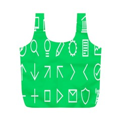 Icon Sign Green White Full Print Recycle Bags (M)