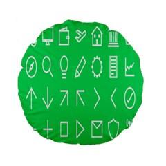 Icon Sign Green White Standard 15  Premium Flano Round Cushions