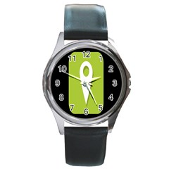 Location Icon Graphic Green White Black Round Metal Watch