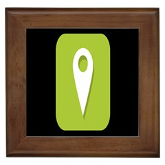 Location Icon Graphic Green White Black Framed Tiles
