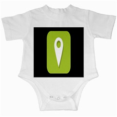 Location Icon Graphic Green White Black Infant Creepers