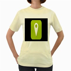 Location Icon Graphic Green White Black Women s Yellow T Shirt