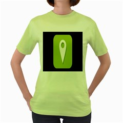 Location Icon Graphic Green White Black Women s Green T-Shirt