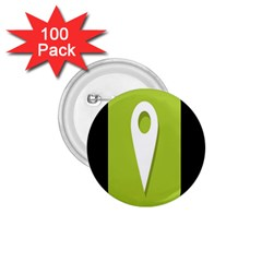 Location Icon Graphic Green White Black 1.75  Buttons (100 pack)
