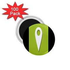 Location Icon Graphic Green White Black 1 75  Magnets (100 Pack)