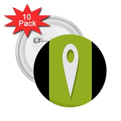 Location Icon Graphic Green White Black 2 25  Buttons (10 Pack)