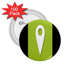 Location Icon Graphic Green White Black 2.25  Buttons (100 pack)