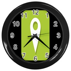 Location Icon Graphic Green White Black Wall Clocks (black)