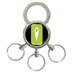 Location Icon Graphic Green White Black 3-Ring Key Chains