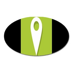 Location Icon Graphic Green White Black Oval Magnet