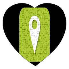 Location Icon Graphic Green White Black Jigsaw Puzzle (Heart)