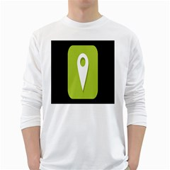 Location Icon Graphic Green White Black White Long Sleeve T Shirts