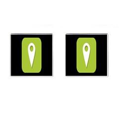 Location Icon Graphic Green White Black Cufflinks (square)