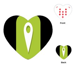 Location Icon Graphic Green White Black Playing Cards (Heart)