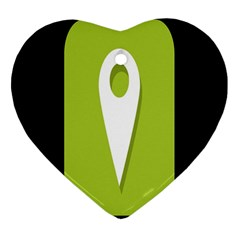 Location Icon Graphic Green White Black Heart Ornament (Two Sides)