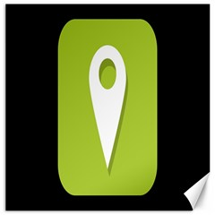 Location Icon Graphic Green White Black Canvas 12  x 12
