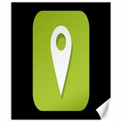 Location Icon Graphic Green White Black Canvas 20  x 24