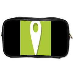 Location Icon Graphic Green White Black Toiletries Bags