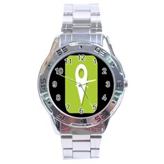 Location Icon Graphic Green White Black Stainless Steel Analogue Watch