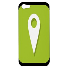 Location Icon Graphic Green White Black Apple iPhone 5 Hardshell Case