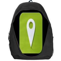 Location Icon Graphic Green White Black Backpack Bag