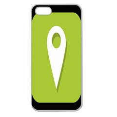 Location Icon Graphic Green White Black Apple Seamless iPhone 5 Case (Clear)