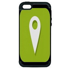 Location Icon Graphic Green White Black Apple iPhone 5 Hardshell Case (PC+Silicone)