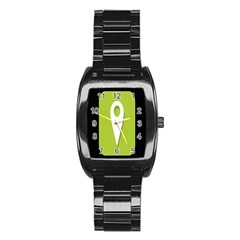 Location Icon Graphic Green White Black Stainless Steel Barrel Watch