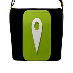 Location Icon Graphic Green White Black Flap Messenger Bag (L)