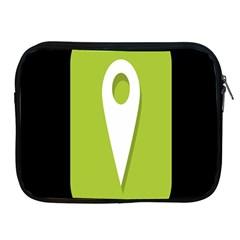 Location Icon Graphic Green White Black Apple iPad 2/3/4 Zipper Cases