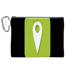 Location Icon Graphic Green White Black Canvas Cosmetic Bag (XL)