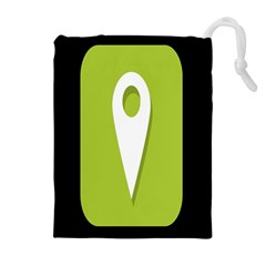 Location Icon Graphic Green White Black Drawstring Pouches (extra Large)