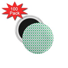 Crown King Triangle Plaid Wave Green White 1 75  Magnets (100 Pack)