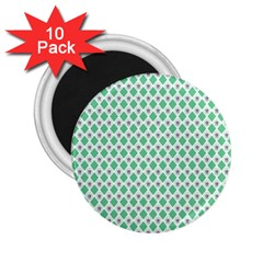 Crown King Triangle Plaid Wave Green White 2.25  Magnets (10 pack)