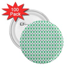 Crown King Triangle Plaid Wave Green White 2.25  Buttons (100 pack)