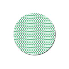 Crown King Triangle Plaid Wave Green White Magnet 3  (Round)