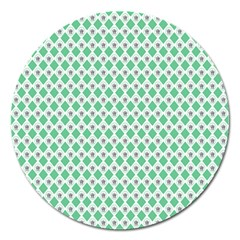 Crown King Triangle Plaid Wave Green White Magnet 5  (round)